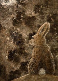 Items similar to Rabbit Archival Art Print - Illustration/Watership Print/Large Art Print/Bunny/Book Illustration/Night Art/Rabbit Art/Childrens Art/ on Etsy Art And Illustration, Illustrations And Posters, Watership Down, Bunny Book, Bunny Art, Large Art Prints, Rabbit Art, Fox Art, Celtic Art