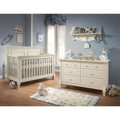 Natart Belmont 2 Piece Nursery Set In French White Crib And Double Dresser