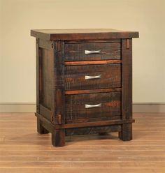 Ruff Sawn Timber Three Drawer Night Stand