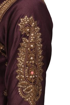 Wine embroidered short kurta with sharara pants set available only at Pernia's Pop Up Shop. Zardozi Embroidery, Embroidery On Kurtis, Hand Embroidery Dress, Embroidery Suits Design, Couture Embroidery, Embroidery Fashion, Hand Embroidery Designs, Kalamkari Dresses, Sleeves Designs For Dresses