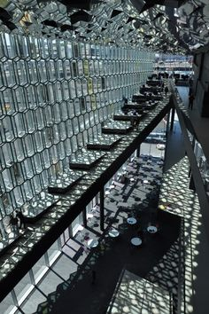 Lighting apect and structure of outside walls of Harpa Concert Hall in Reykjavik, Iceland by Olafur Eliasson