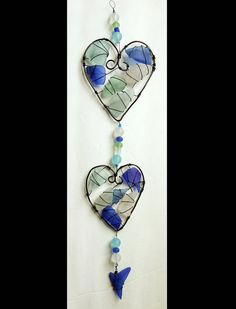 Sea Glass Suncatcher with Triple Heart Design by oceansbounty