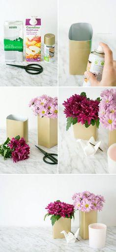 DIY florero reciclando un tetrabrick