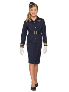 Forum Medium Stewardess Child's Halloween Costume - Your frequent flier will fly high in this Stewardess Child's Halloween Costume. This fun costume comes complete with a jacket, skirt and cap. Perfect for trick-or-treating and playing dress up. Cute Costumes, Girl Costumes, Halloween Costumes For Kids, Adult Costumes, Halloween Parties, Stewardess Costume, Costume Supercenter, Costume Dress, Trendy Plus Size