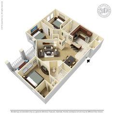 3 Bedroom - C1 Floor-plan   Ooltewah, TN Integra Hills Floor Plans   Apartments in Ooltewah, TN - Floor Plans
