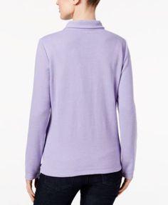 Karen Scott Petite Half-Zip Pullover Top, Created for Macy's - Tan/Beige P/XS