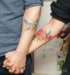 45 Matching Tattoo Designs for Couples, Siblings, and BFFs - TattooBlend - 45 Matching Tattoo Designs for Couples, Siblings, and BFFs – TattooBlend - Neck Tatto, Inner Forearm Tattoo, Forearm Tattoos, Body Art Tattoos, Pretty Tattoos, Love Tattoos, Spaceship Tattoo, Bluebird Tattoo, Bird Tattoos