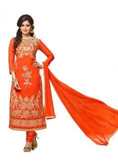 Ethnic Wear Orange Georgette Churidar Suit- 115448