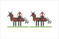 Semne Cusute: MOTIVE: calul si calaretul Deer, Cross Stitch, Ornaments, Romania, Blouse, Country, Home Decor, Punto De Cruz, Decoration Home