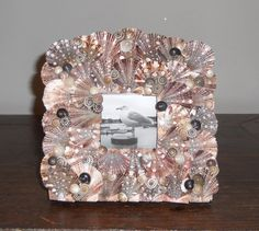 Seashell picture frame handmade with unusual shells from Mexico 6.5 by 6.5 inches  - LA BOQUITA DOS
