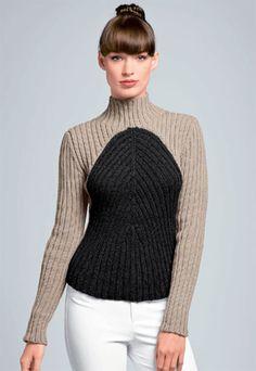 Zoom pull côtelé à tricoter - explications gratuites - création Bergère de France