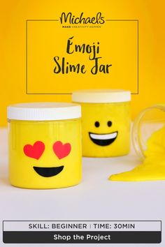Two trends do make a right! Incorporate your favorite emoji with slime in this easy slime jar DIY. Whether you're more into the winky face, cool shades or totally heart-eyed, this project will easily set the mood for fun. Find the complete how-to and more on the Michaels project page.