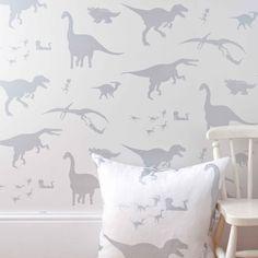 D'ya-think-e-saurus boys dinosaur wallpaper white with cushion and chair
