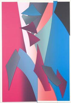 Carlos Amorales el esplendor geométrico 8, 2015 serigrafía sobre paneles de madera 220 x 140 x 4 centímetros