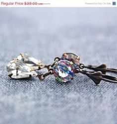 SALE Vintage Swarovski Crystal Earrings Rainbow by JewelryByMagda, $31.20