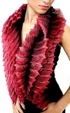 "Anne Selby ""Fibonacci Boa"" 2011 120cm x 20cm 8 layers silk and silk tuille, dyed & pleated using arashi shibori techniques. Photo by Anne Selby"