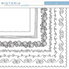 Doodle Page Borders  12 x 12  Clip Art for by WisteriaDesignStudio, $6.00