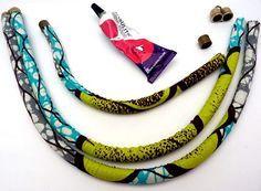 Collier en tissu wax et coquillage - Perles & Co