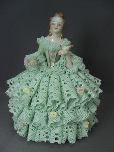 "Lovely Irish Dresden Lace Figurine in Green Gown - 5"" Tall"