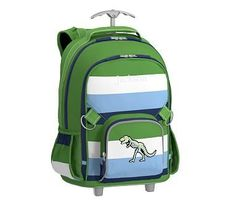 Rolling Backpack, Fairfax Green/Navy Multicolor Stripe Glow T-Rex