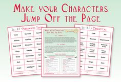 Make Your Characters Jump of the Page Unit  (A Fun-Filled Unit of Study on Sentence Variety,  Character Development and Authentic Dialogue) price: 5.50 YouTube Demo of Lesson Intro: http://www.youtube.com/watch?v=S7DLZRCK310