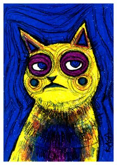 The Emotional Cats is a pastel drawing series, where I highlight the feelings and emotions of cats using bright colors and strong contour.The Emotional Cats could be seen at Tartu Werner cafe from July to November of my Emotional Cats are for… Red Cat, Blue Cats, Young Art, Cat Art Print, Dutch Painters, Pastel Drawing, Grumpy Cat, Cat Gifts, Art Auction
