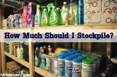 """Food list + shelf life info ~ also includes household supplies/cleaners; health & beauty products, etc. Blogger goal is to have a """"stockpile"""" of 1-3 years on hand ... good info"""