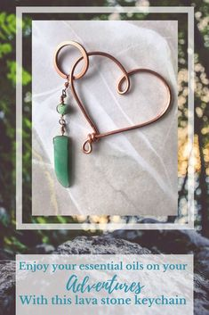 Bring your essential oils on the go with this cute and functional keychain Aventurine Keychain, Essential Oil Keychain Oil Diffuser Keychain Lava Bead Keychain Aventurine Keyring Gemstone Keychain Copper Wire Heart by HazelCharm on Etsy#affiliate