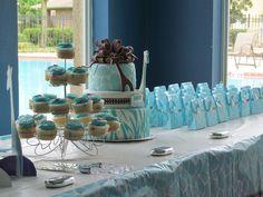 Wild Safari Blue Baby Shower Cake — Baby Shower