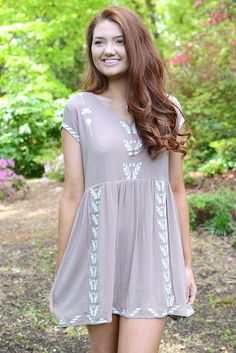 Moxie Embroidered Dress by THML - Mocha from Page 6 Boutique