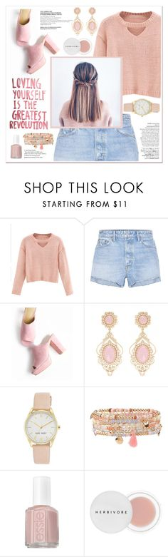 """loving yourself in rose"" by nellylein ❤ liked on Polyvore featuring Avenue, WithChic, GRLFRND, Nine West, Accessorize, Essie, Herbivore and rose"