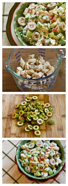 Shredded Chicken Salad with Green Olives, Celery, and Green Onion is delightfully red and green for a perfect low-carb Christmas Salad for a holiday buffet.