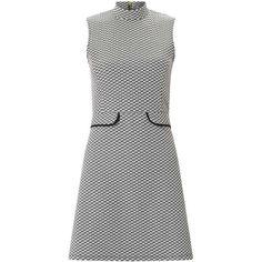 Miss Selfridge PETITE Monochrome Jacquard Dress (€43) ❤ liked on Polyvore featuring dresses, black, petite, petite jersey dress, high neckline dress, jersey dress, high neck sleeveless dress and miss selfridge dresses