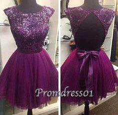 #promdress01 prom dresses, amazing purple lace tulle open back mini prom dress with bow, ball gown, homecoming dress, cute dresses for teens #coniefox #2016prom