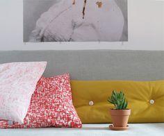 Cushion with buttons Tas-ka,  woolfelt ochre