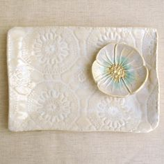 Hand Built Pottery trays | ... serving tray White platter Hand Built ceramic platter lace pottery 10