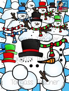 Snowman Clipart Bundle from tongassteacher on TeachersNotebook.com -  (42 pages)  - This 42 piece clipart bundle features a variety of snowman graphics! The bundle includes melting snowmen and individual pieces to build your own snowman