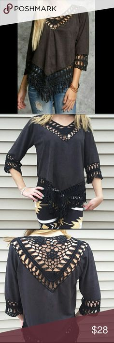 *Faux Suede Crochet Top Brand new with tags purchased directly from boutique. Black faux suede top with 3/4 sleeves and Crochet contrast. Fringed bottom. Absolutely stunning and drapes beautifully. Material is soft and lightweight. 70% cotton and 30% polyester. Size medium. Runs true to size. Tops Tunics
