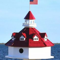 Shop for Annapolis Lighthouse Bird House. Get free delivery On EVERYTHING* Overstock - Your Online Bird Supplies Store! Decorative Bird Houses, Bird Houses Diy, Garden Houses, Bird House Kits, Bird Aviary, House Yard, Red Roof, Bird Cages, Bird Feeder