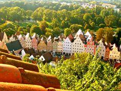 overlooking downtown Landshut in Bavaria Germany