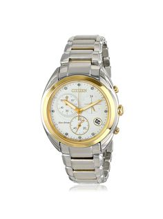 nice Citizen Women's FB1394-52A Celestial Analog Display Japanese Quartz Two Tone Watch http://www.thesterlingsilver.com/product/emporio-armani-gianni-t-bar-womens-quartz-watch-with-white-dial-and-silver-stainless-steel-bracelet-ar1683/