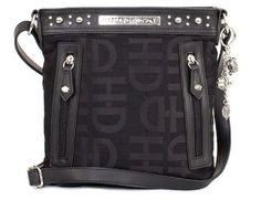 Harley-Davidson® Women's Jacquard Crossbody Purse Bag. Dangling Charms. Signature Plate. HD3437J-BLK