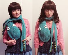 Octopus scarf with tentacles by hello happy, PDF pattern