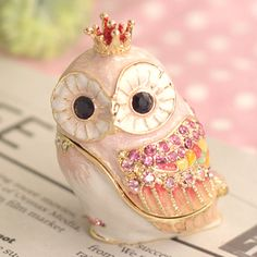 Pink Crown Owl Jewelry Box  gift for my friend...by original pinner. ..... <3 lovely gift!