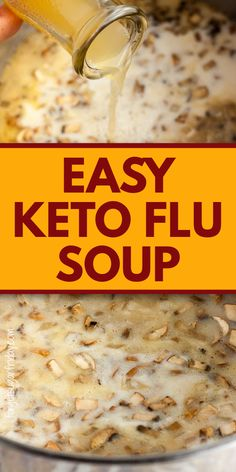 Banish the keto flu with this absolutely delicious Keto Flu Soup! It's especially crafted to deal with the electrolyte imbalance you may experience when first starting keto that can contribute to the keto flu. It's a tasty keto soup that is great for keto veterans too! It's also suitable for the low carb diet and can be used as a low carb dinner recipe too. 6g net carbs per generous bowl. Low Carb Meal Plan, Ketogenic Diet Meal Plan, Low Carb Dinner Recipes, Diet Meal Plans, Keto Dinner, Ketogenic Recipes, Low Carb Keto, Meal Prep, Omelettes
