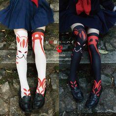 Fox face& 鳥居 torii knee high