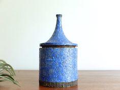 Vecchia scatola di ceramica blu firmato, firmato 50 vintage 1950