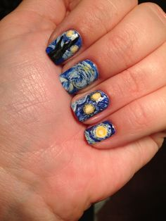 Nails inspired by art Starry night - Van Gogh @mrsbeck12