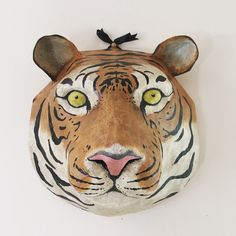 Etsy :: Your place to buy and sell all things handmade Paper Mache Sculpture, Dog Sculpture, Sculptures, Tiger Mask, Tiger Head, Paper Mache Crafts, Paper Craft, Paper Mache Animals, Ann Wood