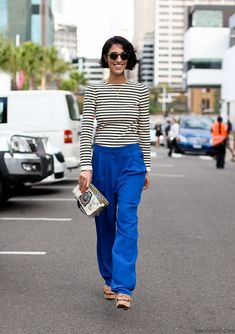 Blue pants paired with stripes #fallcolor #cobalt